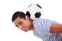 Handsome latin boy holding a soccer ball Stock Photography