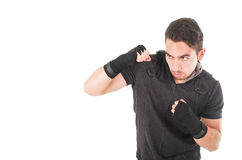 Handsome latin fighter wearing black clothes Royalty Free Stock Photo