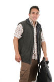 Handsome latin man holding backpack Royalty Free Stock Photo