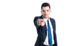 Handsome lawyer or broker pointing finger at the camera Stock Images