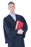 Handsome lawyer holding labor code. On white background Royalty Free Stock Photography