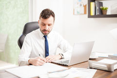 Handsome lawyer signing some contracts Royalty Free Stock Photography