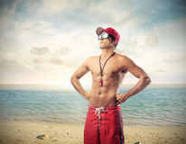 Handsome lifeguard Stock Image