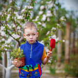 Handsome little blond boy planting and gardening flowers in gard. En or farm in spring day stock photography
