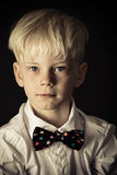Handsome little blond boy in a stylish bow tie royalty free stock image