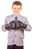Handsome Little Boy with boxing gloves, Isolated Royalty Free Stock Photography