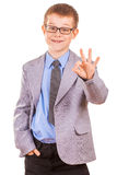 Handsome Little Boy in a Business Suit, Isolated Stock Images