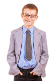 Handsome Little Boy in a Business Suit, Isolated Royalty Free Stock Image