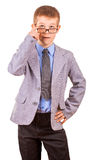 Handsome Little Boy in a Business Suit, Isolated Royalty Free Stock Images