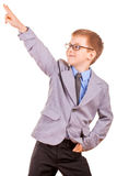 Handsome Little Boy in a Business Suit, Isolated Royalty Free Stock Photography