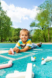 Handsome little boy with chalked image Stock Image