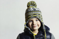 Handsome little boy.funny child.winter fashion kids.fashionable little boy Royalty Free Stock Image