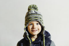 Handsome little boy.funny smiling child.winter fashion kids Stock Photos