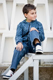 Handsome little boy outdoors royalty free stock photos