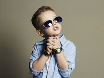 Handsome little boy in sunglasses.Funny Child Stock Images