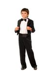 Handsome little boy in a tuxedo Stock Photo