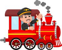 Handsome machinist cartoon uo train with smile and waving