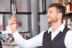 Handsome male bartender is working in pub Stock Image