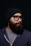 Handsome male big beard in glasses and hat Stock Image