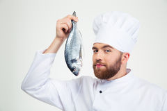Handsome male chef cook holding fish Royalty Free Stock Image