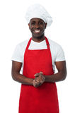 Handsome male chef isolated on white Royalty Free Stock Photography