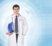 A handsome male doctor in white clothes Royalty Free Stock Photo