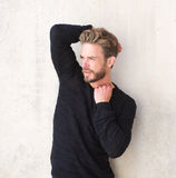 Handsome male fashion model with beard Royalty Free Stock Photography