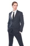 Handsome male fashion model in black business suit Stock Photo