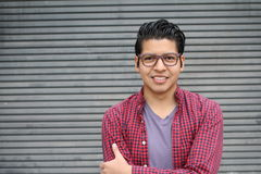 Handsome male with glasses portrait with copy space Royalty Free Stock Images