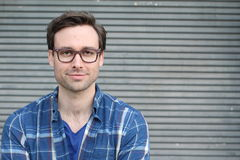 Handsome male with glasses portrait with copy space Stock Photography