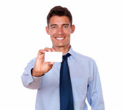 Handsome male holding blank business card Stock Images