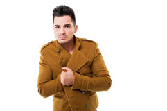 Handsome male model with dark hair and jacket Royalty Free Stock Image