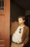 Handsome male model in a doorway Royalty Free Stock Photos