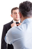 Handsome male model getting prepared for photo shooting Royalty Free Stock Image