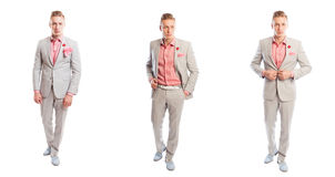 Handsome male model representing smart casual style. By wearing a trendy suit Royalty Free Stock Images