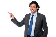Handsome male professional pointing away Royalty Free Stock Photography