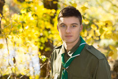 Handsome Male Scout Looking at Camera Royalty Free Stock Photography