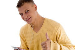Handsome male showing thumbs up Royalty Free Stock Photography