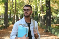 Handsome male student outdoors close up.  Stock Image