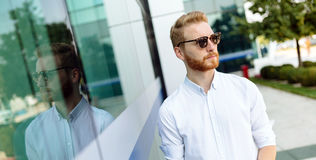 Handsome male wearing shirt and glasses. In summer Stock Photo