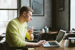 Handsome male writer Stock Photo