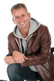 Handsome man. Handsome middle aged man in his forties  smiling.  Studio white background Stock Image