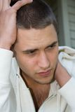 Handsome man. Young man, worried expression Royalty Free Stock Photo