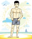 Handsome man adult standing on tropical beach in bright shorts. Vector nice and sporty man illustration. Summertime theme clipart Stock Photography