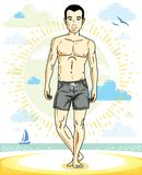 Handsome man adult standing on tropical beach in bright shorts. Vector nice and sporty man illustration. Summertime theme clipart Stock Images