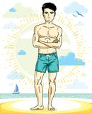 Handsome man adult standing on tropical beach in bright shorts. Vector nice and sporty man illustration. Summertime theme clipart Royalty Free Stock Image