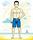 Handsome man adult standing on tropical beach in bright shorts. Vector nice and sporty man illustration. Summertime theme clipart Stock Image