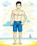 Handsome man adult standing on tropical beach in bright shorts. Vector nice and sporty man illustration. Summertime theme clipart Stock Photo