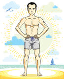 Handsome man adult standing on tropical beach in bright shorts. Vector nice and sporty man illustration. Summertime theme clipart Royalty Free Stock Photos