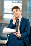 Handsome man in the airport Stock Photos